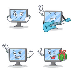 Set of monitor character with smirking guitar vector