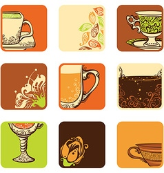 set of teacoffee icons vector image