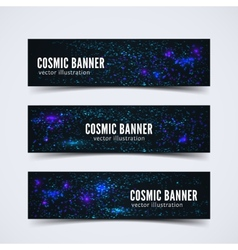 Set of three banners with abstract cosmic vector image vector image