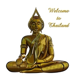 Thai gold buddha meditation on a white background vector