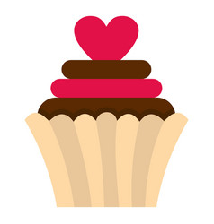 valentine cupcake icon isolated vector image