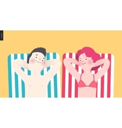 Happy couple sunbathing on the beach vector
