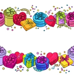 Greeting card template with endless border of vector