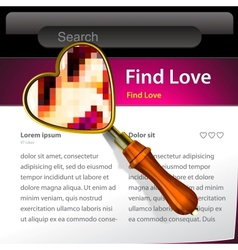 Magnifying glass searching love website template vector