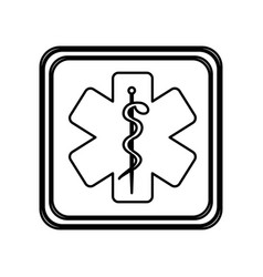 monochrome contour of button with star of life vector image