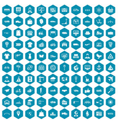 100 logistic and delivery icons sapphirine violet vector image