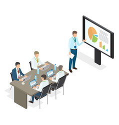 assembly and speech of top managers flat theme vector image