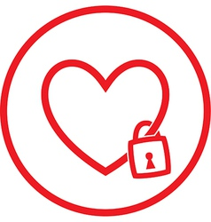 Heart and lock icon vector