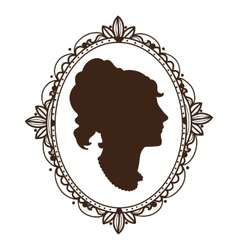 Vignette frame with woman profile vector