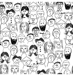 Seamless crowd of people vector