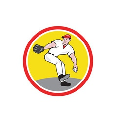 Baseball pitcher throw ball cartoon vector