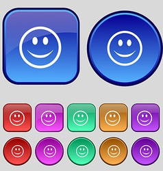 Smile happy face icon sign a set of twelve vintage vector