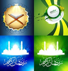 Set of attractive background of ramadan kareem vector