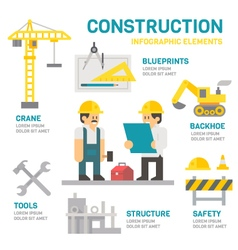 Construction site flat design infographic vector