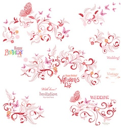 Collection floral elements with flying butterflies vector