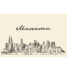 Manama skyline bahrain drawn sketch vector