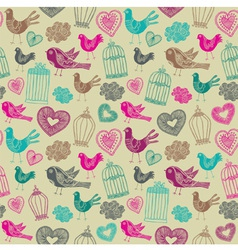 Vintage birds floral pattern vector
