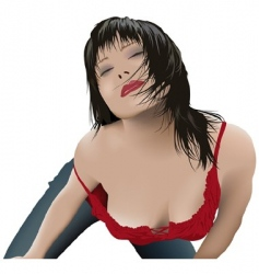 Sexy girl with black hair vector