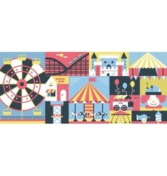 Amusement park background flat vector image