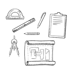 Architect drawing and tools sketches vector