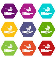 baby pram protection icon set color hexahedron vector image