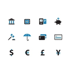 Banking duotone icons on white background vector image vector image