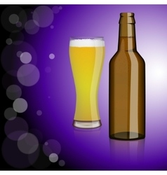 Bottle of beer glass vector
