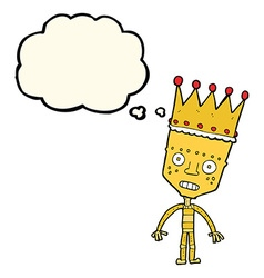 Cartoon robot with crown with thought bubble vector