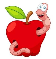 Cartoon Worm In Apple vector image vector image