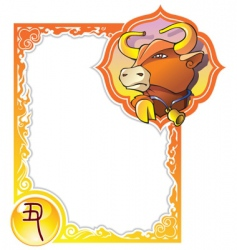 Chinese horoscope frame series bull vector