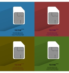 Color set SIM card Flat modern web button with vector image
