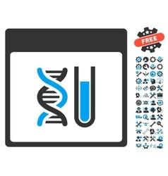 Dna analysis calendar page icon with bonus vector