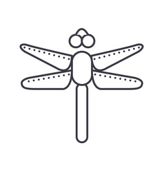 dragonfly line icon sign on vector image vector image