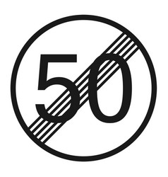 End maximum speed limit 50 sign line icon vector