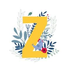 Floral alphabet letter z vector
