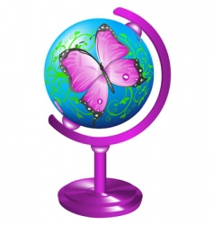 globe with butterfly vector image vector image