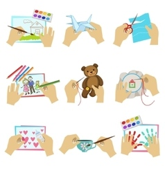 Hands doing different crafts vector