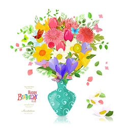 Invitation card with bouquet of spring flowers in vector image vector image