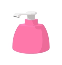 Pink plastic bottle with liquid soap cartoon icon vector