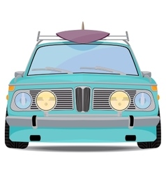 Retro car with a surfboard vector image vector image