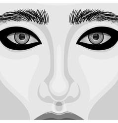 Retro woman portrait with beautiful eyes vector