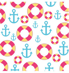sail anchor and lifeguard float vector image vector image