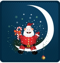 Santa on moon vector image vector image