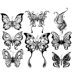 Silhouettes of exotic butterflies vector