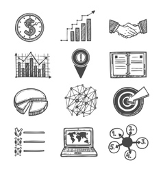 Sketch strategy and management icons vector image vector image