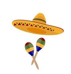 Sombrero and maracas vector