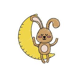 Teddy rabbit seated in the moon vector