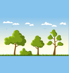 three trees in a meadow vector image vector image