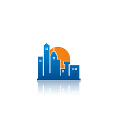 town cityscape building logo vector image vector image
