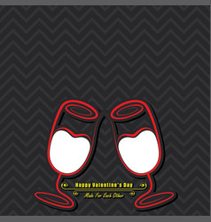 Valentine card with cute wine glasses vector